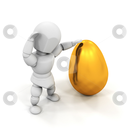 Person holding Easter egg stock photo, 3D render of someone holding a golden Easter egg by Kirsty Pargeter