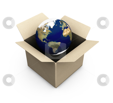 Earth in a box stock photo, 3D render of the Earth in a box by Kirsty Pargeter
