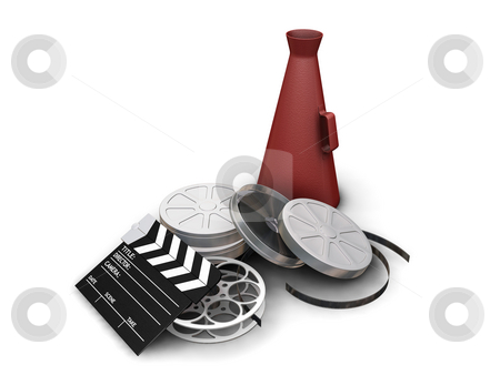 Movie items stock photo, 3D render of movie items isolated on white background by Kirsty Pargeter
