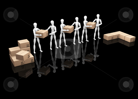 Teamwork stock photo, 3D render of a team of workers by Kirsty Pargeter