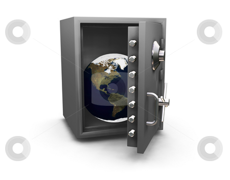 Safe world stock photo, 3D render of the Earth in a safe by Kirsty Pargeter