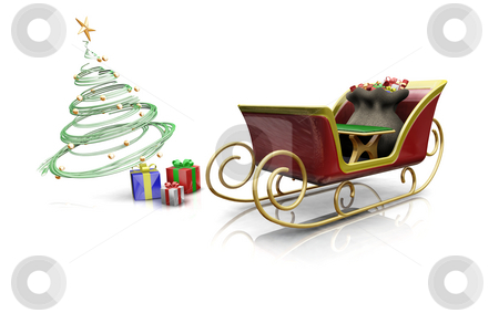 Santas sleigh stock photo, 3D render of santas sleigh with presents and a Christmas tree by Kirsty Pargeter