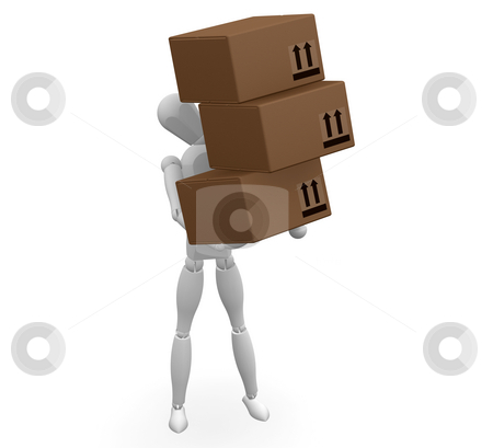 Man carrying boxes stock photo, 3D render of a man carrying boxes by Kirsty Pargeter
