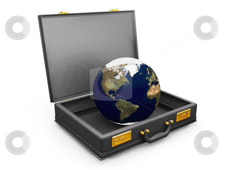 Globe in briefcase stock photo, 3D render of a globe in a briefcase by Kirsty Pargeter