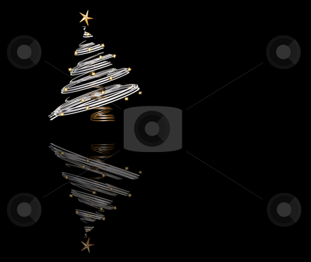 Christmas tree stock photo, 3D render of a metallic Christmas tree by Kirsty Pargeter