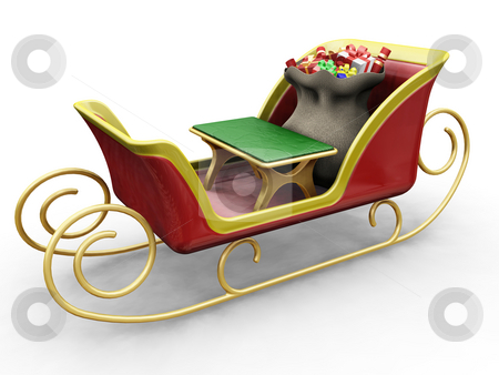 Santas sleigh stock photo, 3D render of Santas sleigh with a sack of gifts by Kirsty Pargeter