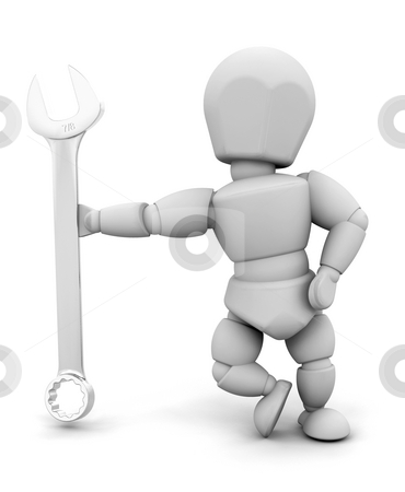 Person with spanner stock photo, 3D render of someone holding a spanner by Kirsty Pargeter