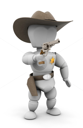 Sheriff stock photo, 3D render of a sheriff pointing a gun by Kirsty Pargeter
