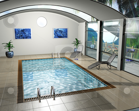 Pool house stock photo, 3D render of an interior of a pool house by Kirsty Pargeter
