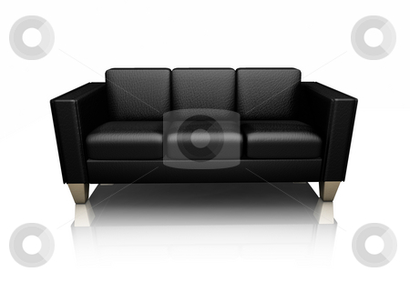 Black leather settee stock photo, 3D render of a black leather settee by Kirsty Pargeter
