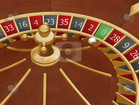 Roulette wheel stock photo, 3D render of a roulette wheel with the ball on zero by Kirsty Pargeter