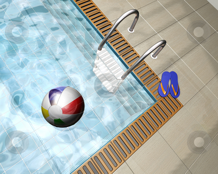 Swimming pool stock photo, 3D render of a beach ball on a swimming pool by Kirsty Pargeter