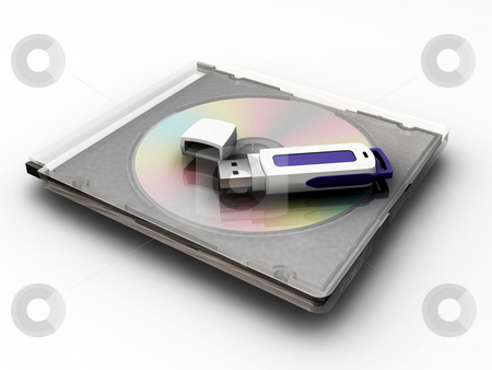 Pen drive stock photo, USB pen drive on compact disc by Kirsty Pargeter