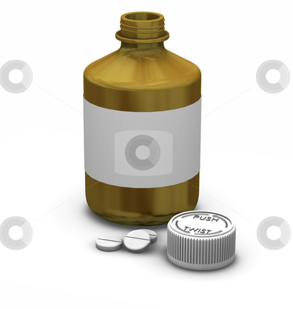 Medication stock photo, 3D render of a bottle of tablets by Kirsty Pargeter