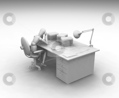Over worked stock photo, 3D render of someone over worked by Kirsty Pargeter