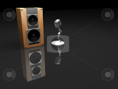 Microphone with speaker stock photo, 3D render of a retro microphone with speaker by Kirsty Pargeter