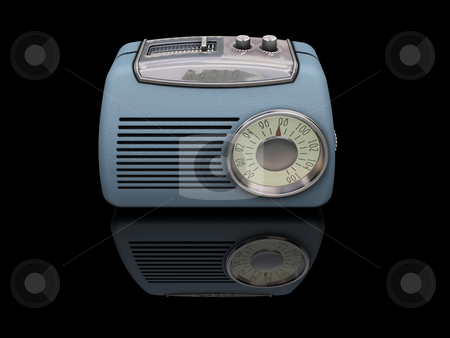 Retro radio stock photo, Retro styled radio on black background by Kirsty Pargeter