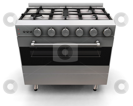 Oven stock photo, 3D render of an oven on a white background by Kirsty Pargeter