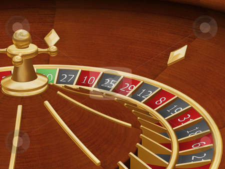 Roulette wheel stock photo, 3D render of a roulette wheel by Kirsty Pargeter