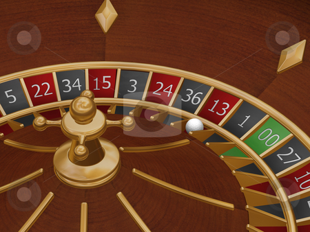 Unlucky thirteen stock photo, 3D render of a roulette wheel with the ball on number thirteen by Kirsty Pargeter