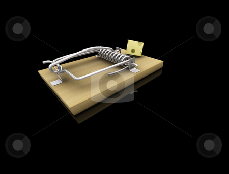Mousetrap stock photo, 3D render of a mousetrap with cheese by Kirsty Pargeter