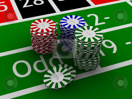 Gambling chips stock photo, Chips on a roulette table by Kirsty Pargeter