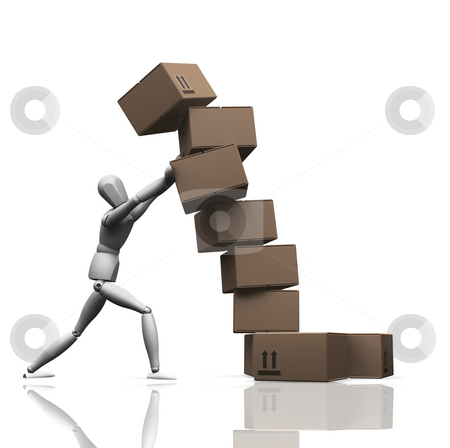 Falling boxes stock photo, 3D render of a man holding up a stack of falling boxes by Kirsty Pargeter