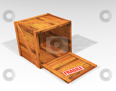 Open wooden crate stock photo, 3D render of an open wooden crate with a fragile sticker by Kirsty Pargeter