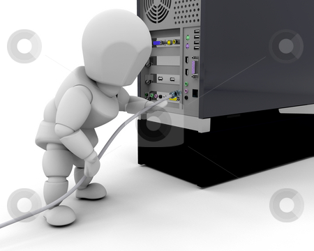 Plugging in cable stock photo, 3D render of someone plugging in a cable in a computer by Kirsty Pargeter