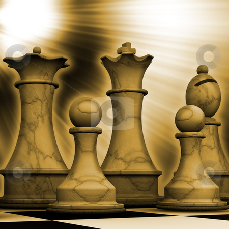 Ready for battle stock photo, 3D render of chess pieces by Kirsty Pargeter