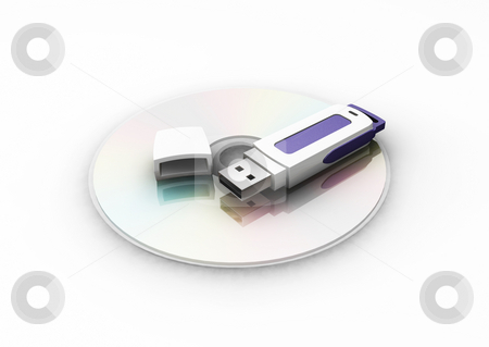 Pen drive on CD stock photo, 3D render of USB pen drive on CD by Kirsty Pargeter