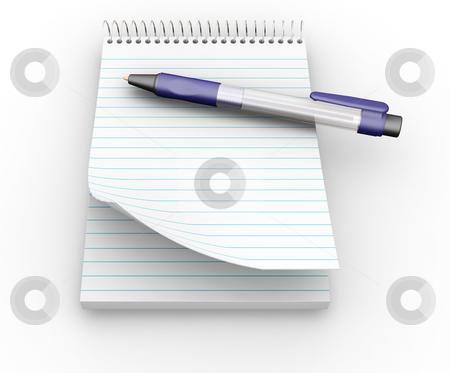 Notepad with pen stock photo, 3D render of a notepad with a pen by Kirsty Pargeter