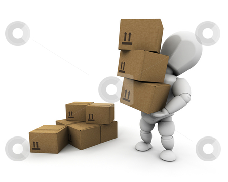 Person carrying boxes stock photo, 3D render of someone carrying a stack of boxes by Kirsty Pargeter