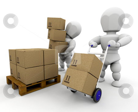 Moving boxes stock photo, 3D render of people moving boxes by Kirsty Pargeter