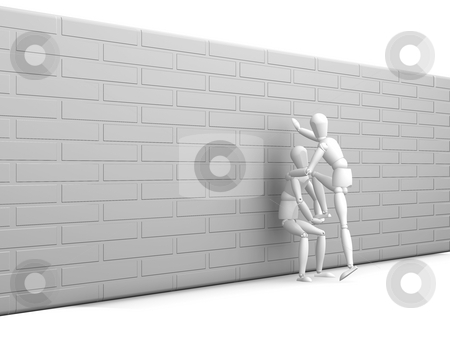 Teamwork stock photo, 3D render of someone being given a helping hand by Kirsty Pargeter