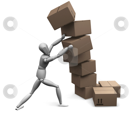 Falling boxes stock photo, 3D render of a man holding up falling boxes by Kirsty Pargeter
