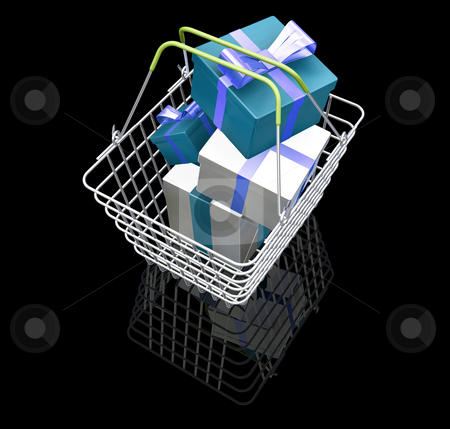 Christmas shopping stock photo, 3D render of a shopping basket full of gifts by Kirsty Pargeter