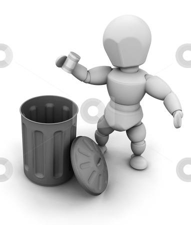 Person putting can in bin stock photo, 3D render of a person putting a tin can in a bin by Kirsty Pargeter