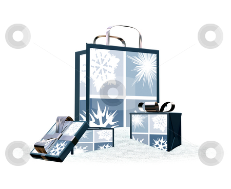 Shopping bags stock photo, 3D render of Christmas shopping bags in snow by Kirsty Pargeter