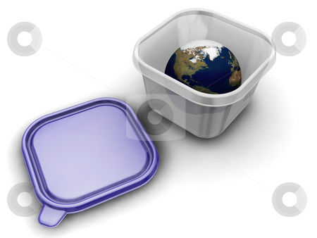World in a box stock photo, 3D render of the world in a plastic container by Kirsty Pargeter