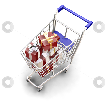 Christmas shopping stock photo, 3D render of a shopping trolley full of Christmas presents by Kirsty Pargeter