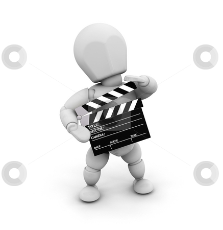 Movie person stock photo, 3D render of someone holding a clapper board by Kirsty Pargeter