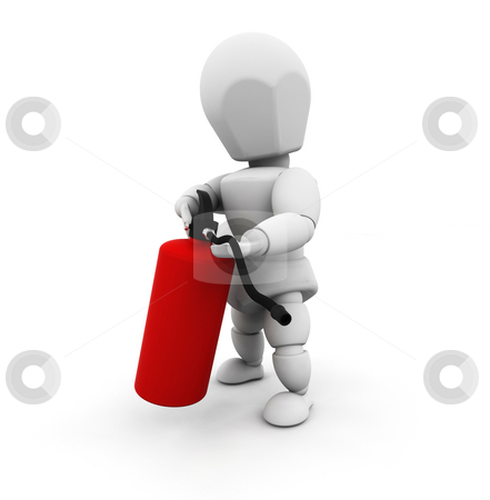 Person holding fire extinguisher stock photo, 3D render of a person holding a fire extinguisher by Kirsty Pargeter