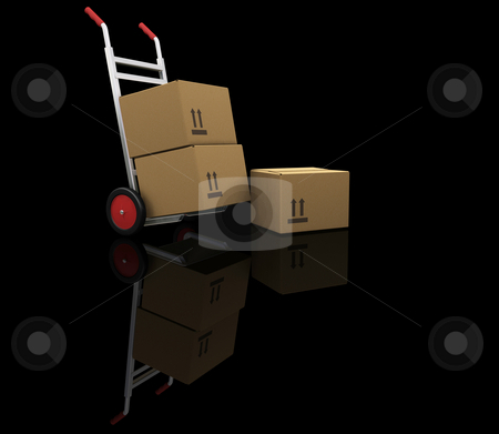 Hand truck with boxes stock photo, 3D render of a handtruck with boxes by Kirsty Pargeter