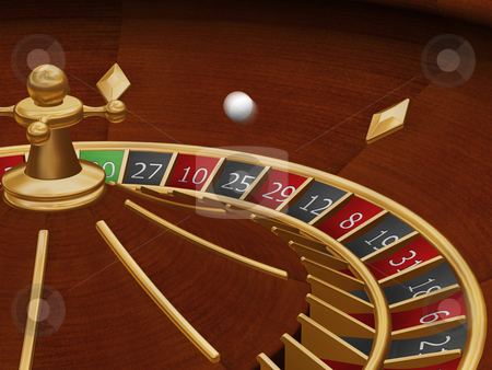 Roulette wheel stock photo, 3D render of a roulette wheel with the ball in motion by Kirsty Pargeter