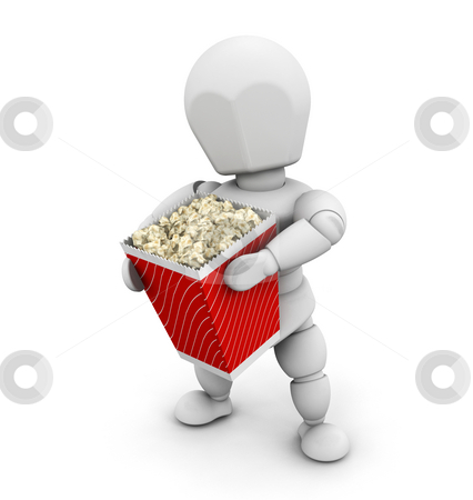 Person holding popcorn stock photo, 3D render of someone holding a carton of popcorn by Kirsty Pargeter
