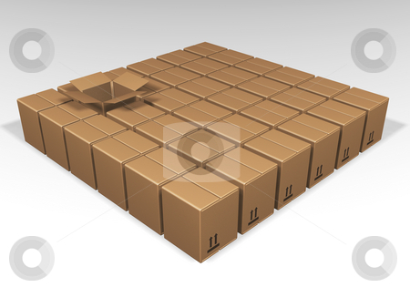 One open box stock photo, One open brown box amongst lots of close ones by Kirsty Pargeter