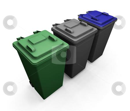 Wheelie bins stock photo, 3D render of wheelie bins by Kirsty Pargeter