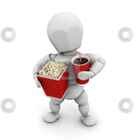 Off to the movies stock photo, 3D render of someone with popcorn and a soda drink by Kirsty Pargeter