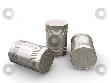 Tin cans stock photo, 3D render of tin cans by Kirsty Pargeter